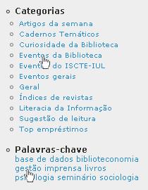 Exemplo de um conjunto de categorias e palavras-chave
